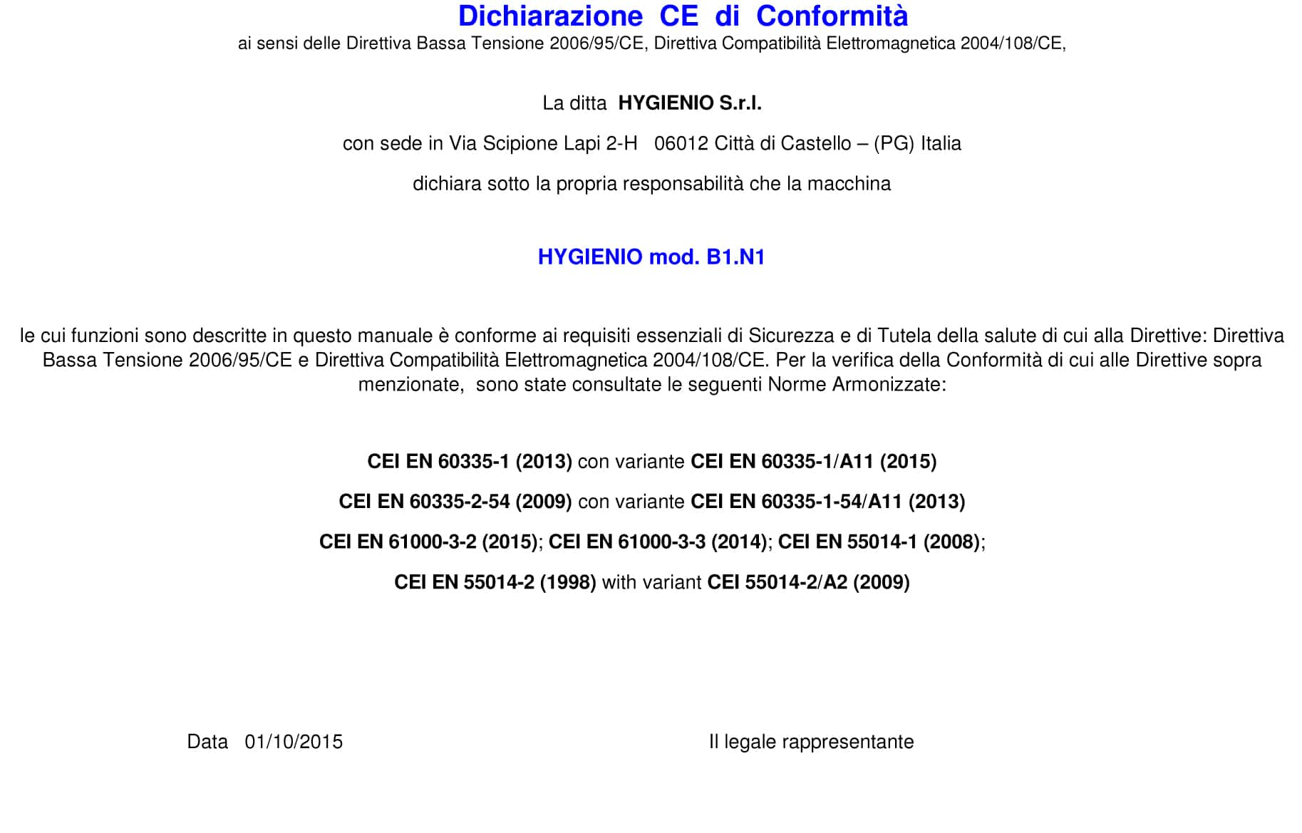 dichiarazione di conformità sanificazione EDM AMBULANZE